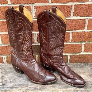 Tony Lama Black Label Leather Cowboy Boots 8.5D